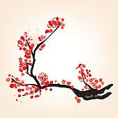 Oriental style painting, blossom in spring