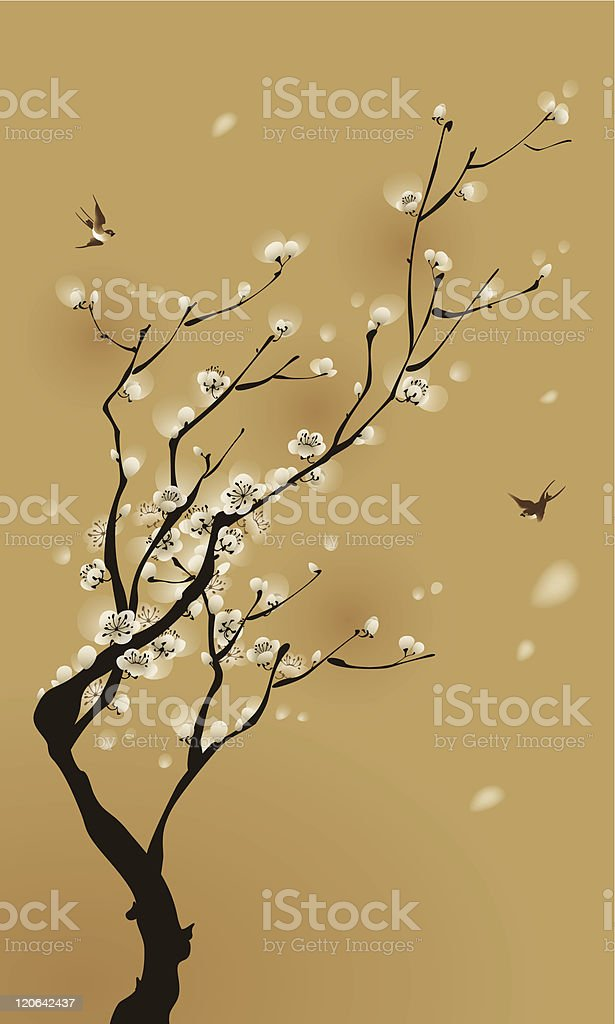 Oriental style blossom tree in brown and beige royalty-free oriental style blossom tree in brown and beige stock vector art & more images of beauty in nature