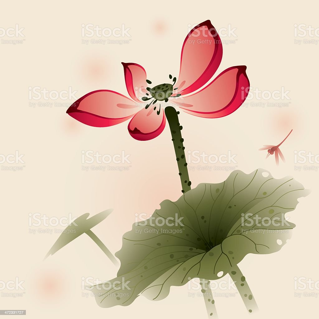Oriental style Lotus royalty-free stock vector art