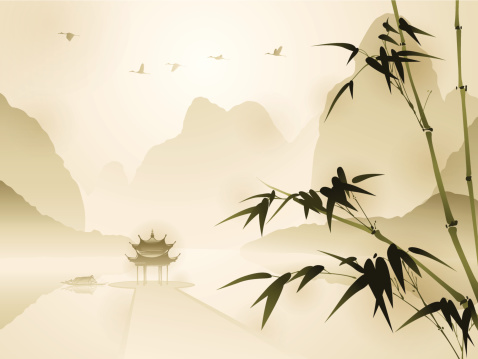 Oriental style painting, Bamboo in tranquil scene
