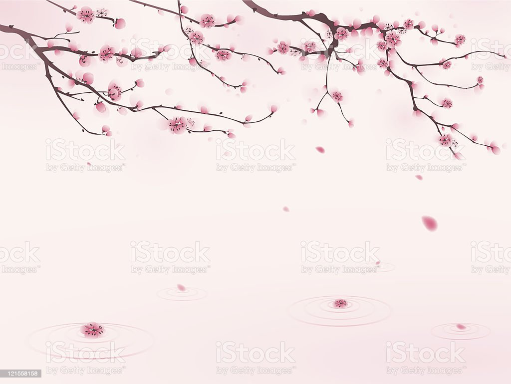 oriental style painting, cherry blossom in spring  Beauty In Nature stock vector