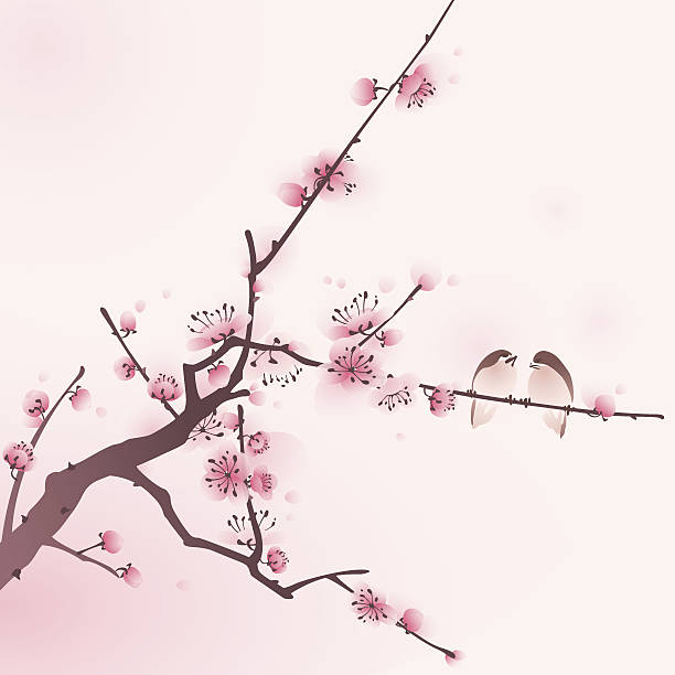 Oriental style painting, cherry blossom in spring Cherry blossom, vectorized brush painting, symbolize love and happiness. plum blossom stock illustrations