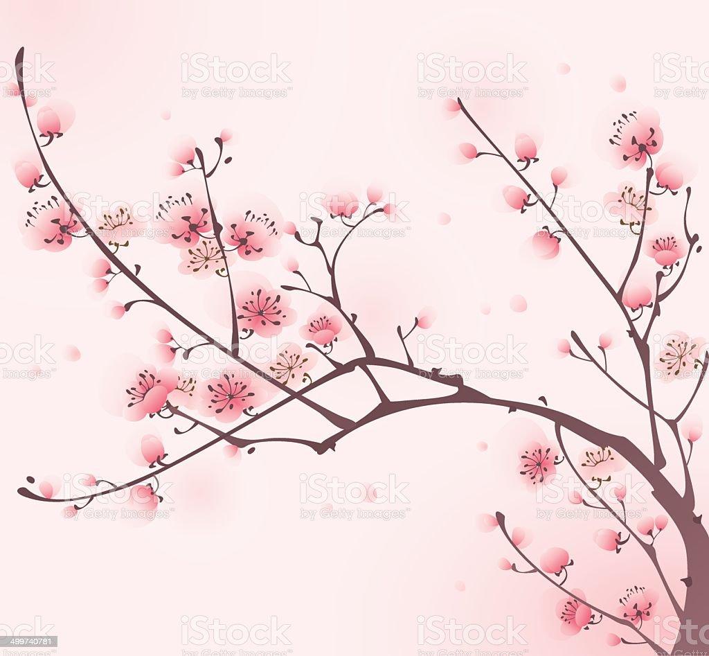 Dipinto in stile orientale fiore di ciliegio in primavera for Fiori di ciliegio dipinti