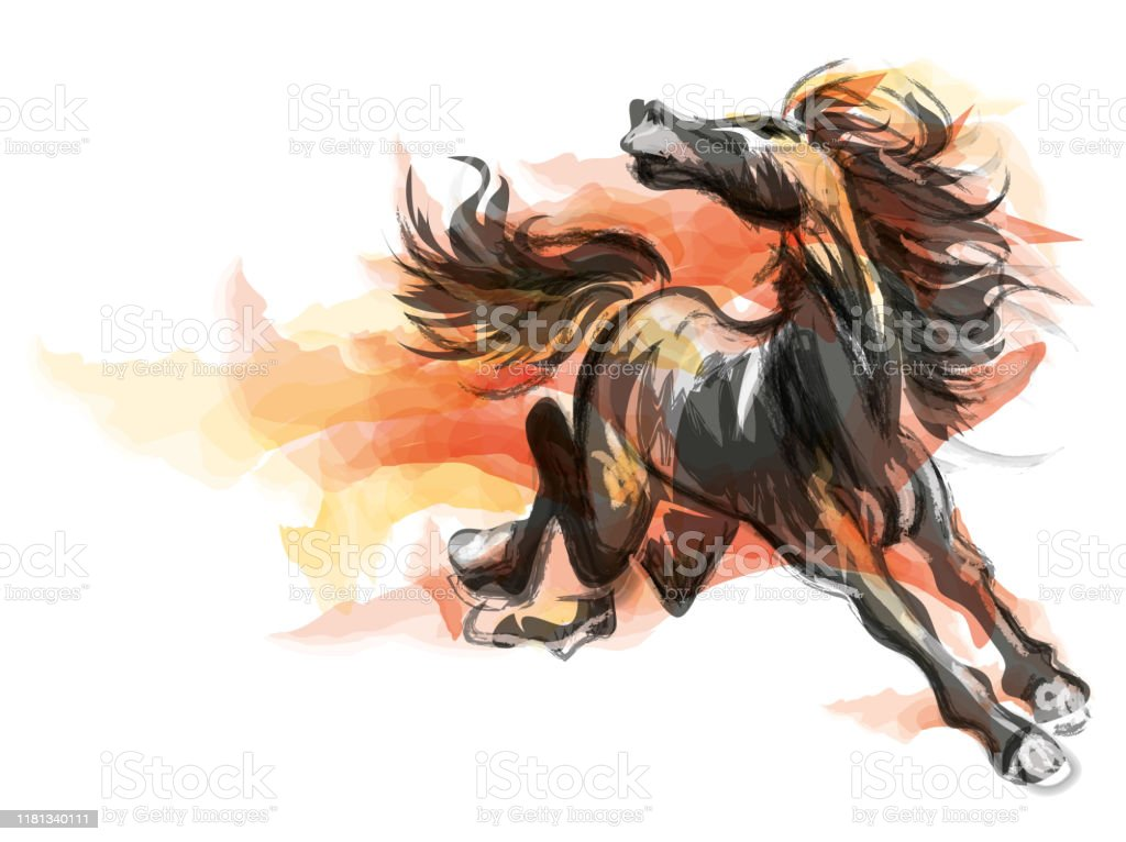 Oriental Style Painting Of A Running Horse Traditional Chinese Ink And Wash Vector Illustration Horse On Flame Stock Illustration Download Image Now Istock