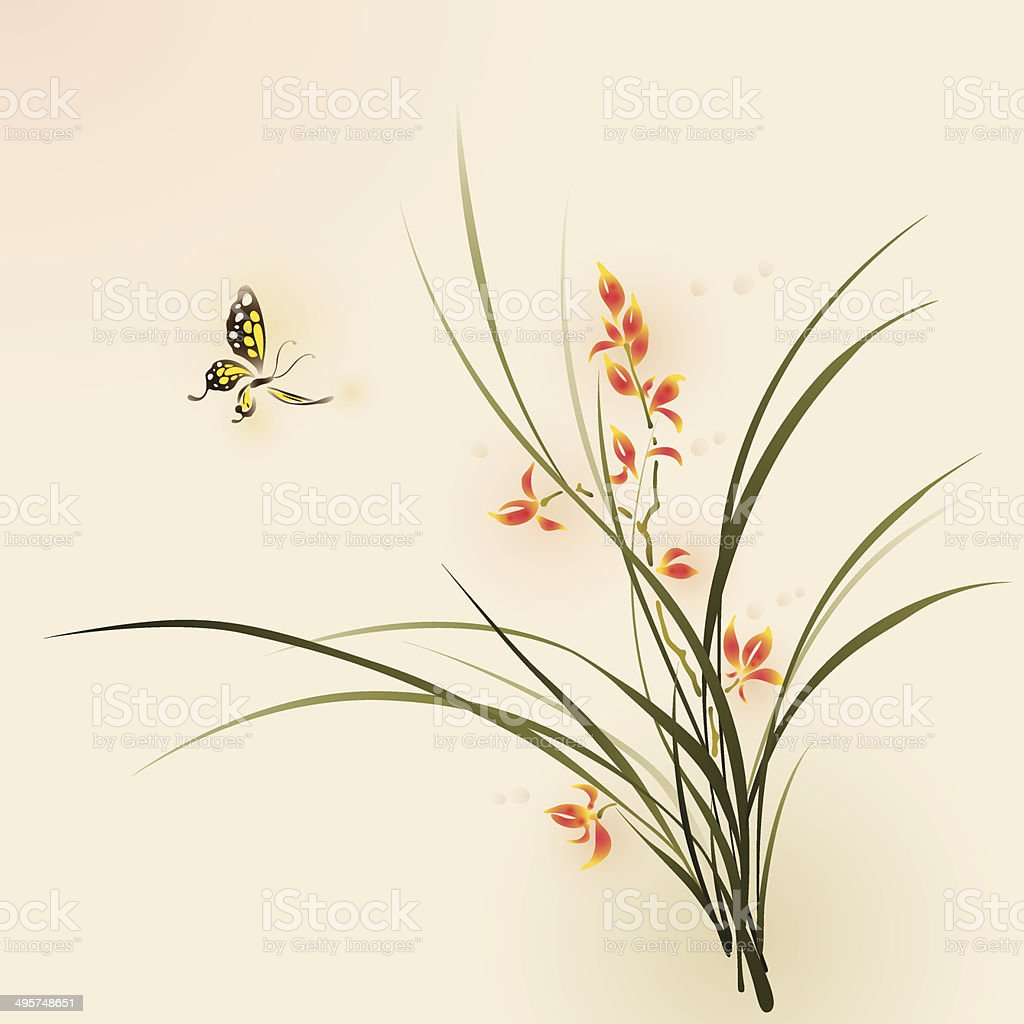 Oriental style painting, orchid flowers and butterfly vector art illustration