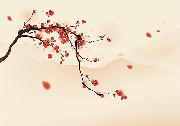 oriental style painting, plum blossom in spring Birds resting on the branches of plum blossom tree with hills background. Vectorized brush painting. plum blossom stock illustrations