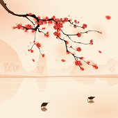Plum blossom above the water with birds drinking water. Vectorized brush painting.