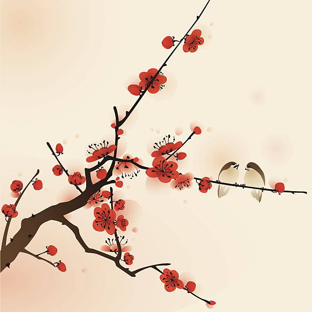 Oriental style painting, plum blossom in spring Plum blossom, vectorized brush painting, symbolize love and happiness. plum blossom stock illustrations