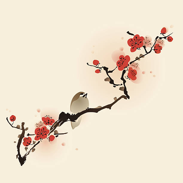 Oriental style painting, plum blossom in spring Plum blossom, vectorized brush painting. plum blossom stock illustrations