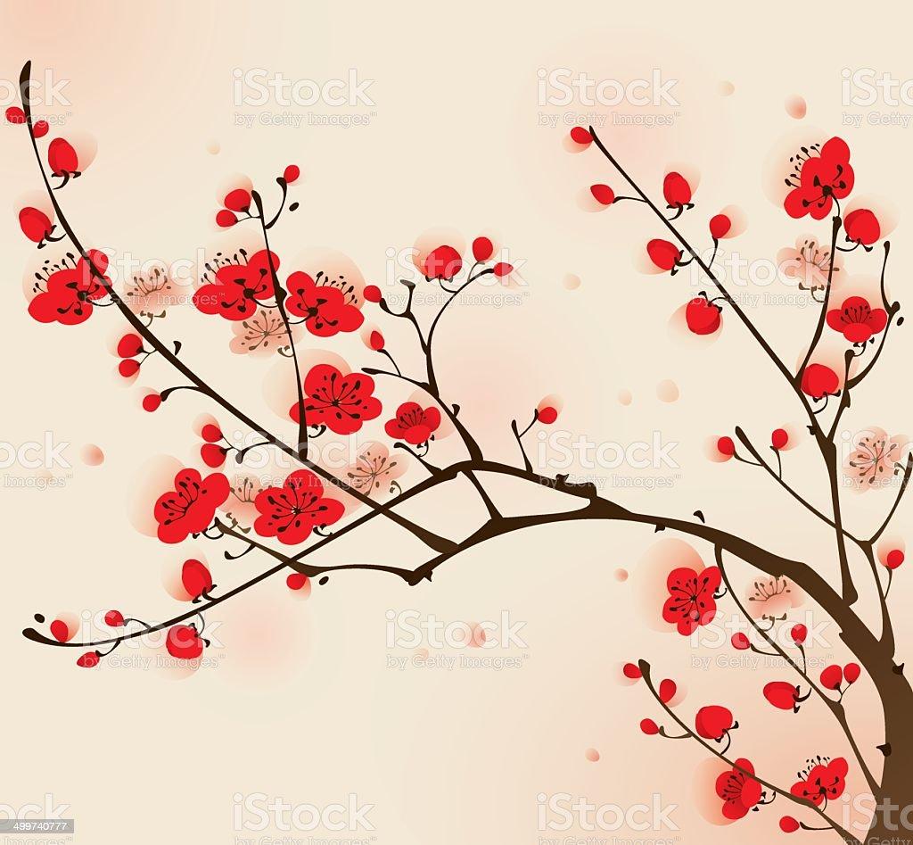 Fleur De Prunier Vecteurs Et Illustrations Libres De Droits Istock