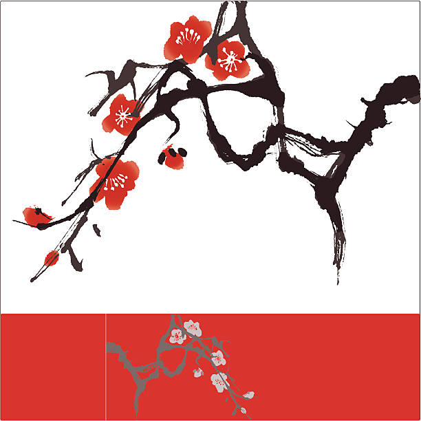 Oriental style painting, Plum blossom Plum Blossom, vectorized brush painting, symbolize love and happiness plum blossom stock illustrations