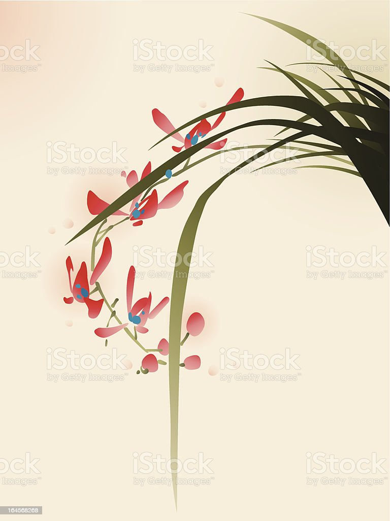 oriental style painting, red orchid flowers vector art illustration