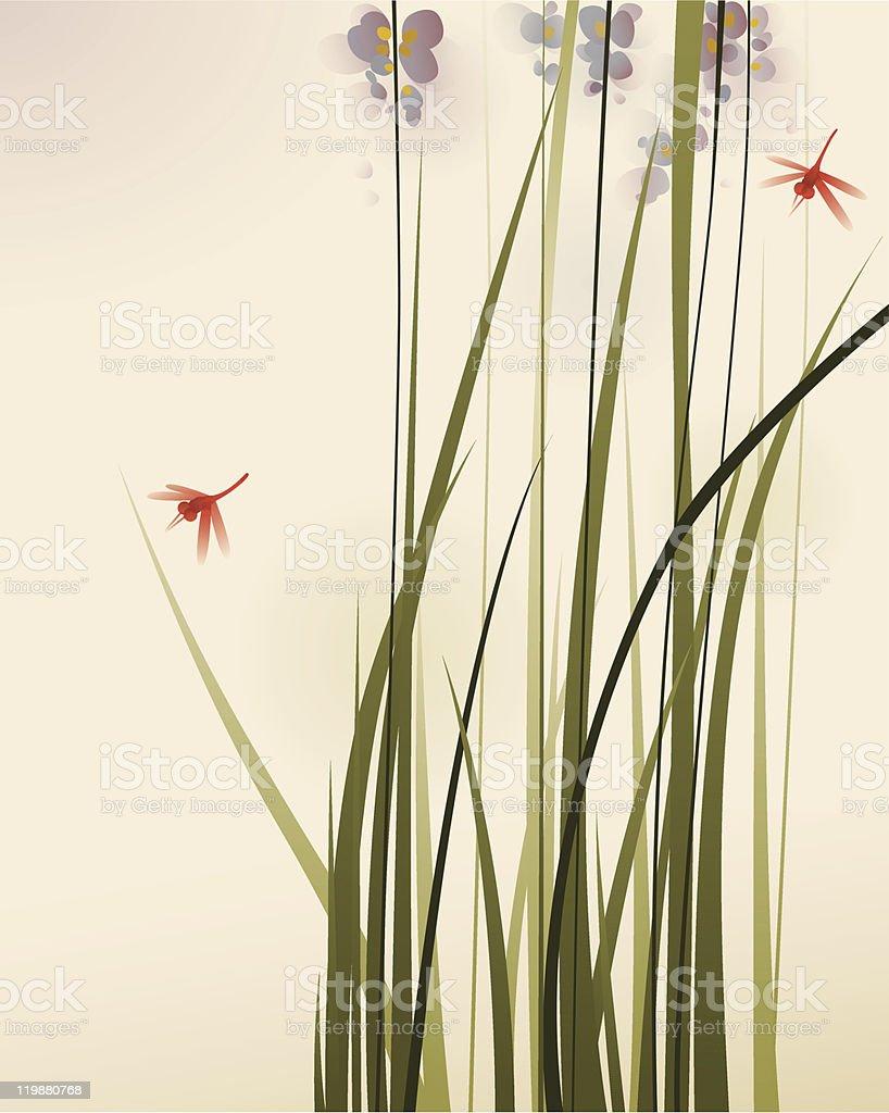 Peinture De Style Oriental Des Fleurs Et Des Herbes Hautes