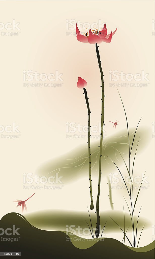 Oriental style painting, tall Lotus vector art illustration
