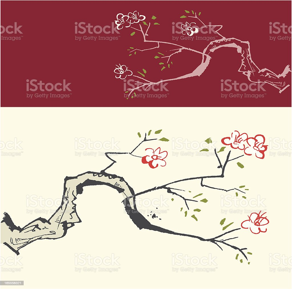 Oriental style painting, vector illustration royalty-free stock vector art