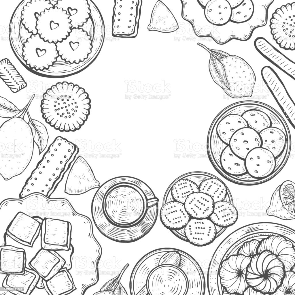 Oriental sweets illustration. vector art illustration