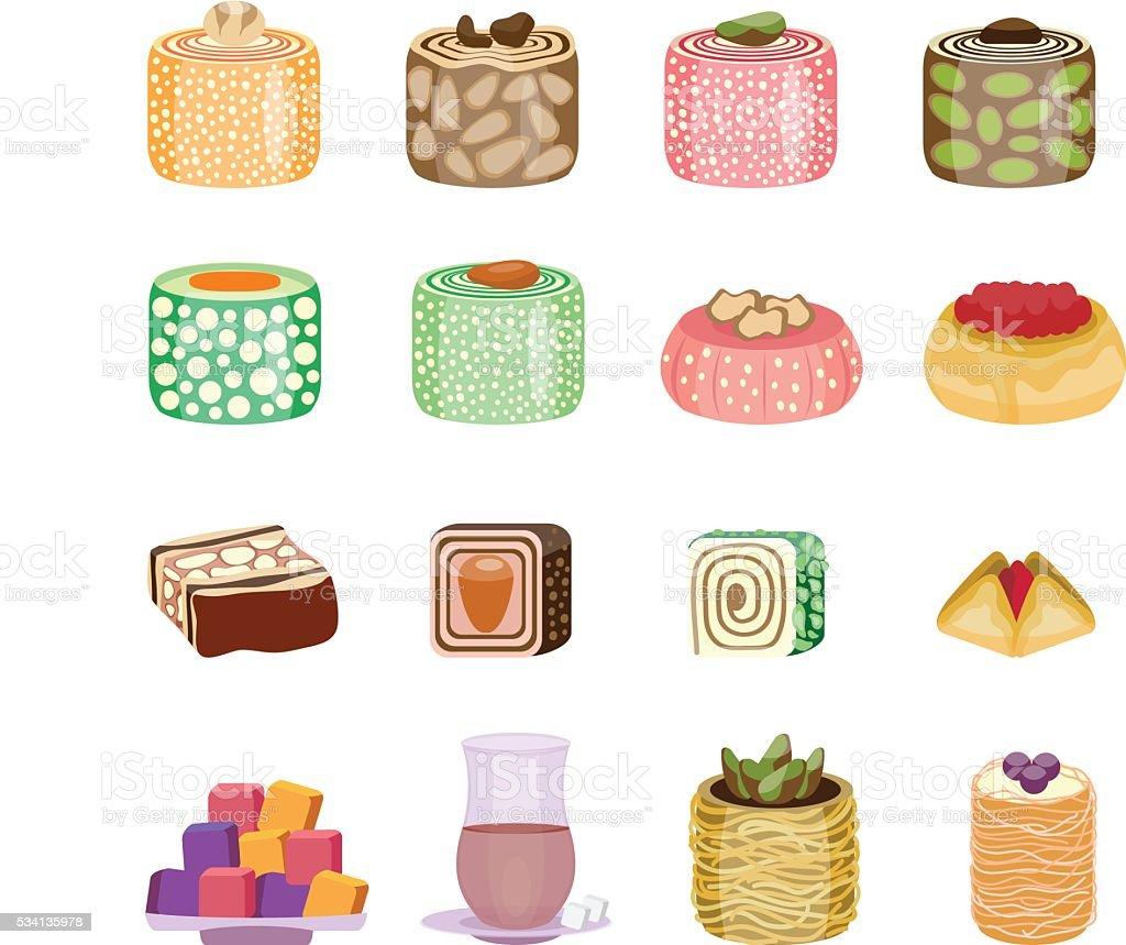 Oriental sweets set. East cuisine collection vector art illustration