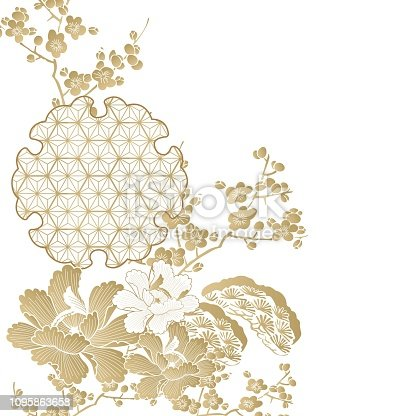Oriental template with flower and Japanese pattern vector. Gold cherry blossom element background.