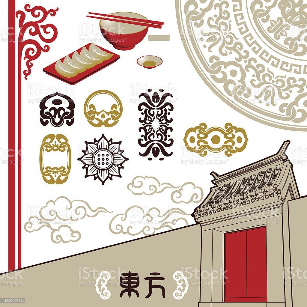 東洋風タッチ(設計要素のバランス) ベクターアートイラスト