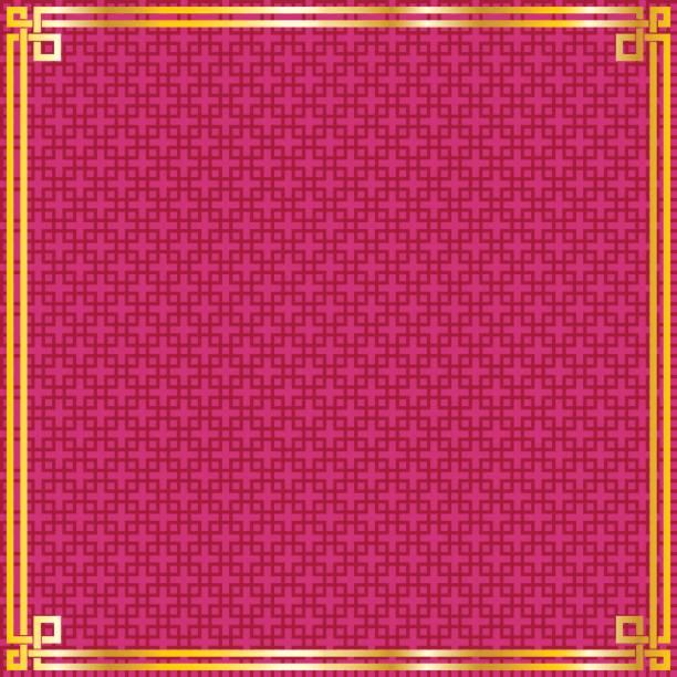 赤い模様の背景に東洋のヴィンテージ ゴールド フレーム ベクターアートイラスト