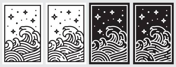 orientalische welle linie illustration. japan-wellenvektor - landschaftstattoo stock-grafiken, -clipart, -cartoons und -symbole