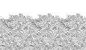 Oriental wave seamless background. Line art Illustration