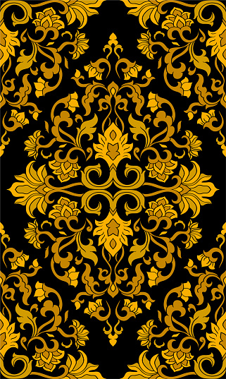 Oriental yellow floral ornament.