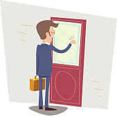 Customer Oriented Business concept Happy Businessman with Briefcase Knocking at Customer Door on Stylish Background Retro Cartoon Vector Illustration