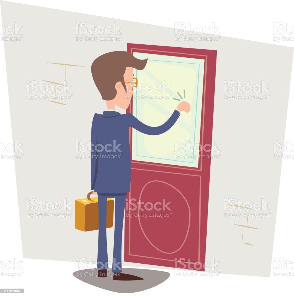 Oriented Happy Businessman with Briefcase Knocking at Customer Door on vector art illustration  sc 1 st  iStock & Royalty Free Door Knock Clip Art Vector Images \u0026 Illustrations - iStock