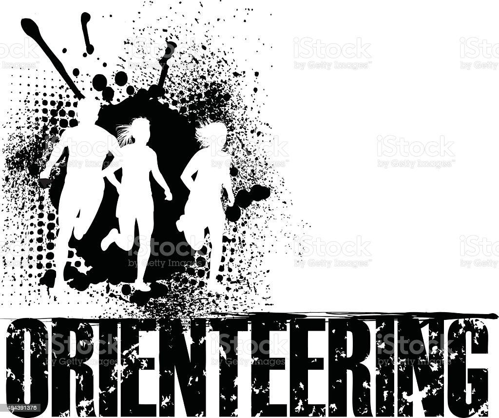 Orienteering Grunge Background, Track Event vector art illustration
