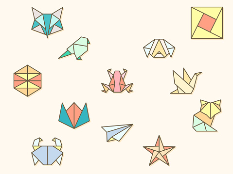 origami and paper element Vector illustration.