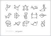 Origami animal line icon set
