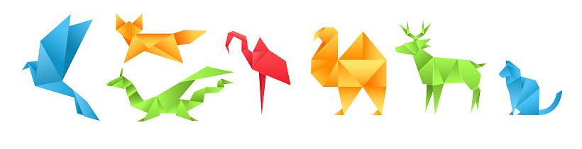 Origami animals different paper toys set bird, camel, cat, deer, fox, dragon, dinosaur, flamingo cartoon geometric game toys japanese paper origami wildlife vector