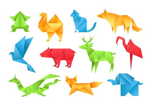 Origami animals different paper toys set frog, bird, camel, bear, cat, deer, fox, dragon, elephant, dinosaur, flamingo, wolf cartoon geometric game toys japanese paper origami wildlife symbol