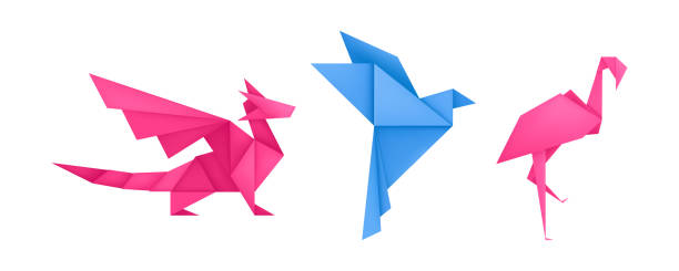 Origami animals different paper toys set vector Origami animals different paper toys set of dragon, bird, flamingo cartoon geometric game toys origami wildlife symbol vector water bird stock illustrations
