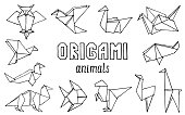 Origami animals hand drawn doodle set. Vector illustration of hand drawn figures from paper