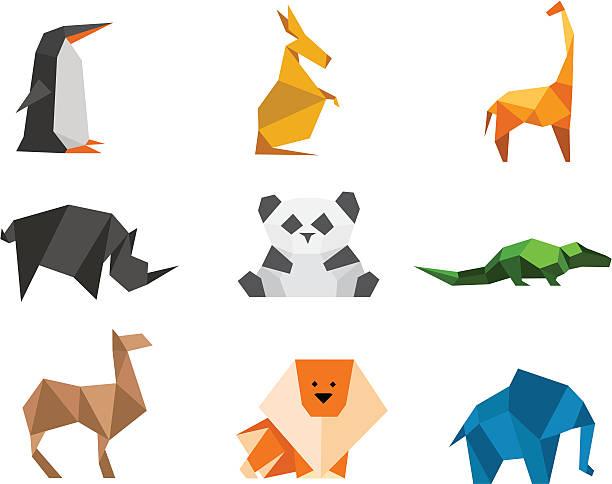 Origami animals logo set vector art illustration