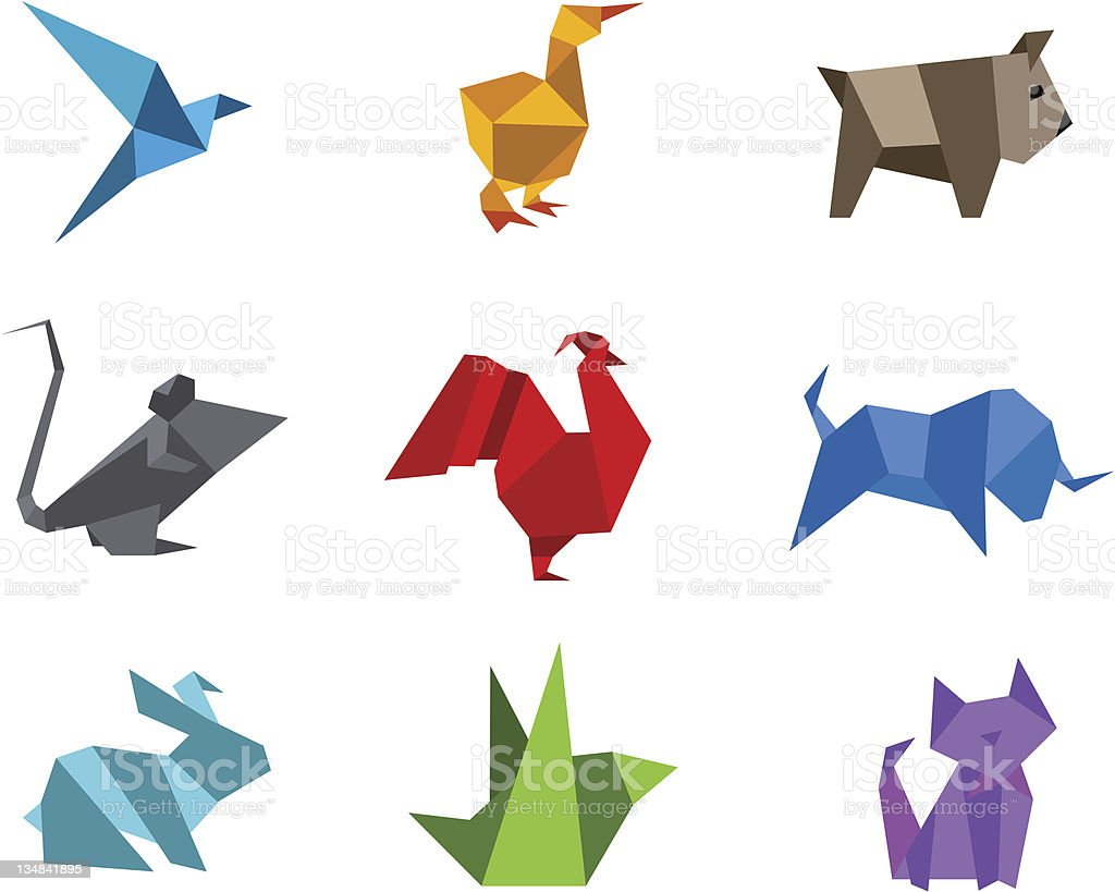 Origami animals logo set vector art illustration