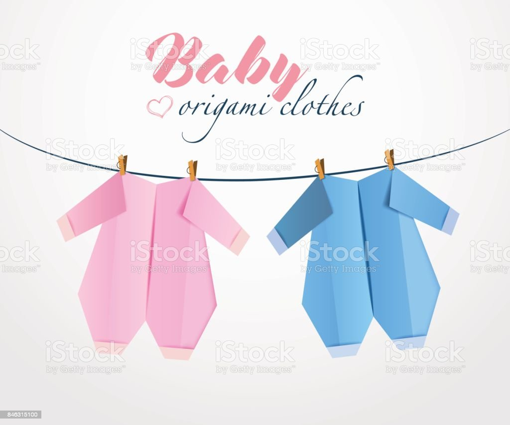 Origami Baby Clothes From Paper On Clothes Line Stock Vector Art