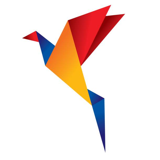 Origami bird 2 vector art illustration