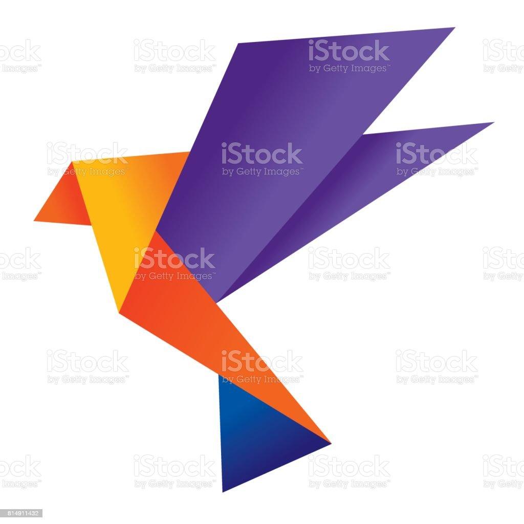 Origami bird 4 vector art illustration