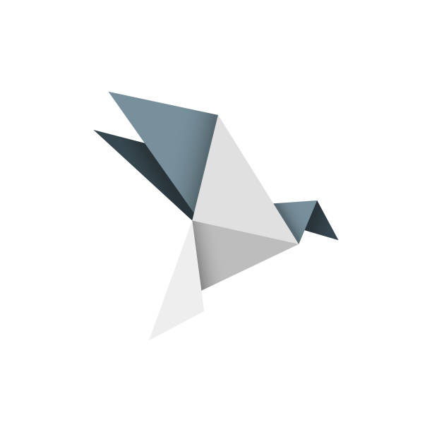origami bird design - crane bird stock illustrations