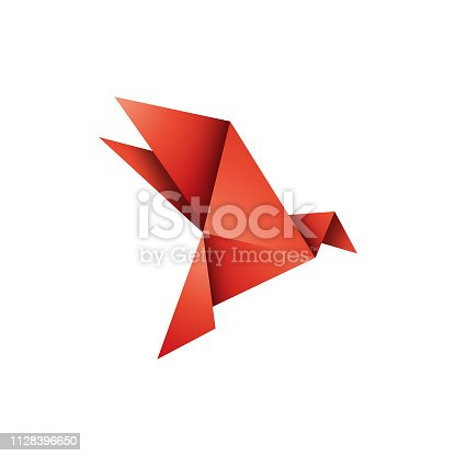 Vector illustration of a colorful and minimalistic origami bird design to use in design projects, social media and ideas and concepts projects.