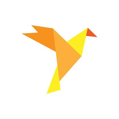 Origami bird vector icon. Flat cartoon character isolated on white background .eps