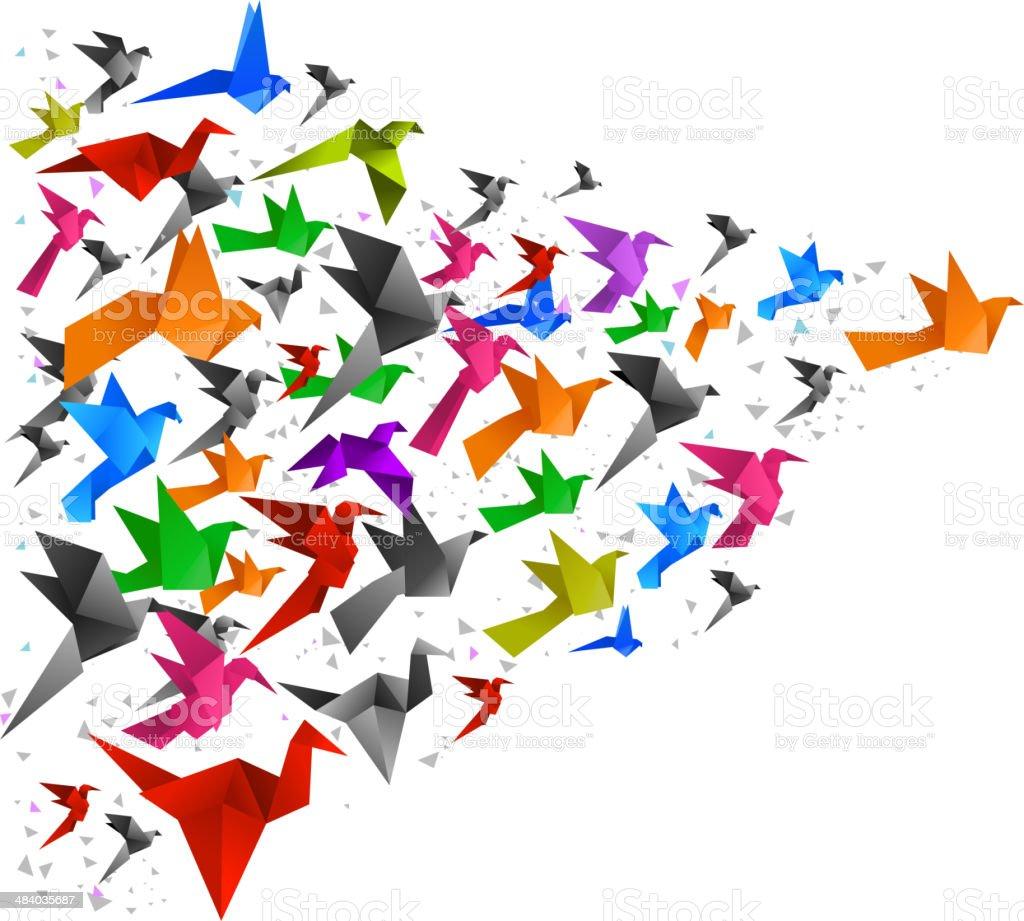 Origami Vögel fliegen zusammen – Vektorgrafik