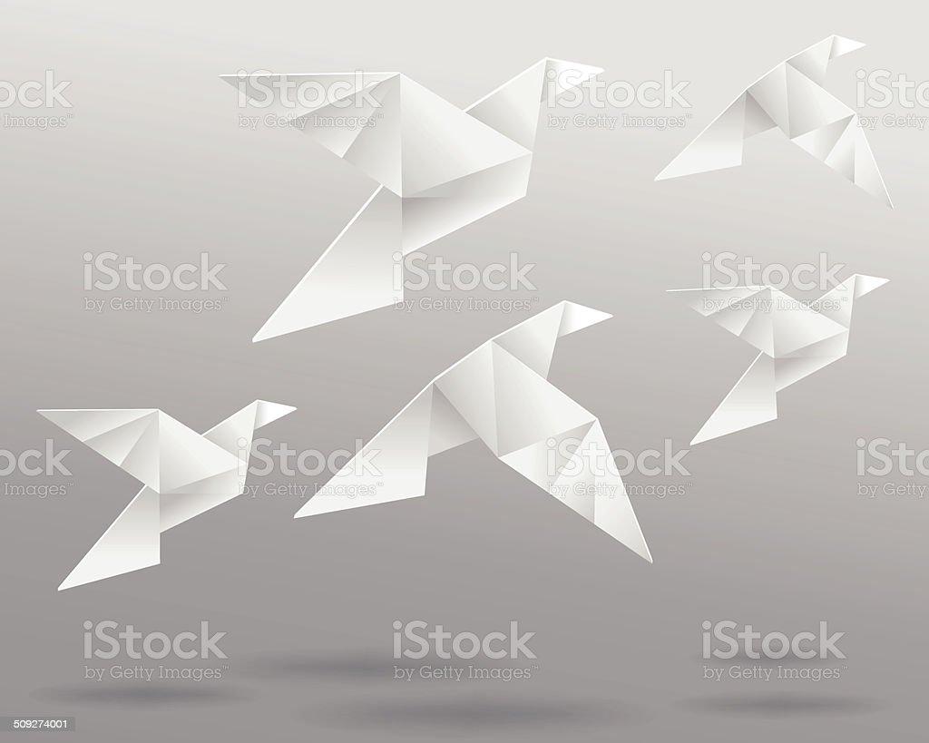 Origami Birds In Flight vector art illustration