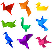 Origami birds icons set. With nine (9) different origami birds in different colours like: red, orange, yellow, green, turquoise, blue, light blue, violet and pink vector illustration.