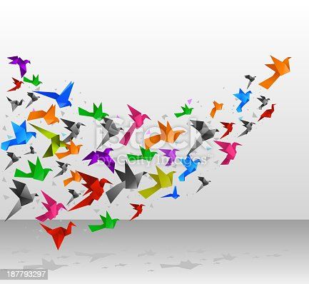 Origami birds flying together. Vector illustration.