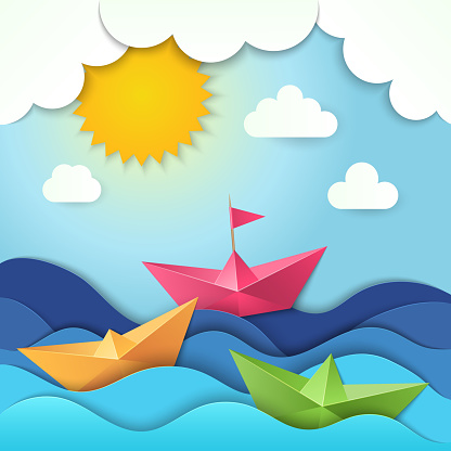 Origami boat. Cut paper ocean waves shadows vector ship stylized illustration