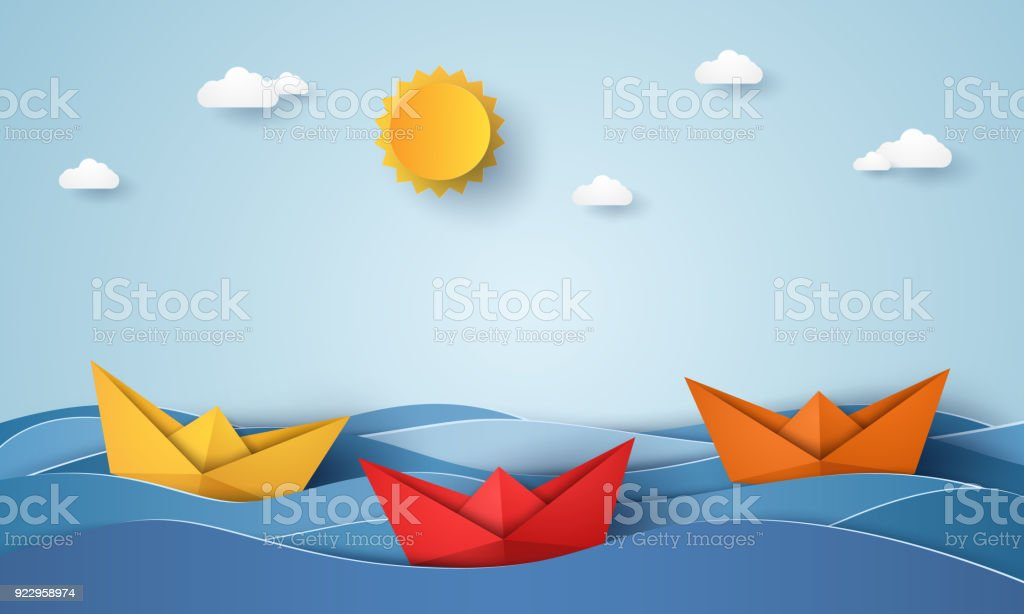 bateau origami voile dans l'océan bleu, style art papier bateau origami voile dans locéan bleu style art papier vecteurs libres de droits et plus d'images vectorielles de abstrait libre de droits